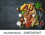 barbecue menu. grilled meat and ... | Shutterstock . vector #1085265347