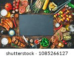 barbecue menu. grilled meat and ... | Shutterstock . vector #1085266127