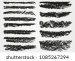 A set of vector brushstrokes. Chalk and charcoal. Paint spots. Grunge texture. Brushes are stored in the palette. Designed for registration of various design projects: posters, banners.