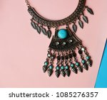 bohemian style necklace with... | Shutterstock . vector #1085276357