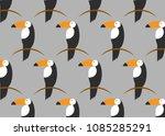 toucans birds pattern. vector... | Shutterstock .eps vector #1085285291