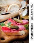 spanish cuisine. tapas with... | Shutterstock . vector #1085296757