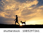 silhouette cute boy and dog... | Shutterstock . vector #1085297261