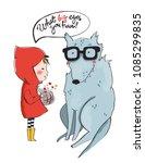 little girl in red coat and... | Shutterstock .eps vector #1085299835