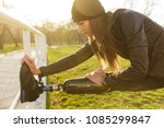 image of disabled running woman ... | Shutterstock . vector #1085299847