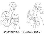 continuous line drawing. linear ... | Shutterstock .eps vector #1085301557