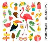 tropical illustrations set.... | Shutterstock .eps vector #1085303297