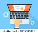data privacy system on computer.... | Shutterstock .eps vector #1085306891