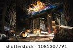 air crash concept. burning... | Shutterstock . vector #1085307791