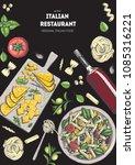 italian cuisine top view...   Shutterstock .eps vector #1085316221