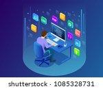 isometric developing... | Shutterstock .eps vector #1085328731