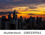 wonderful sunrise skyline with... | Shutterstock . vector #1085339561