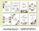 set of card with exotic leaves. ... | Shutterstock .eps vector #1085353931