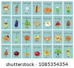 funny cards with healthy and... | Shutterstock .eps vector #1085354354