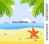 summer sunny beach banner with... | Shutterstock .eps vector #1085358269