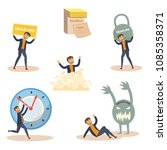 exhausted businessman and... | Shutterstock .eps vector #1085358371