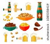 full mug of golden lager cool... | Shutterstock .eps vector #1085358419
