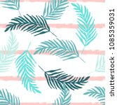 minimal palm leaves pattern... | Shutterstock .eps vector #1085359031