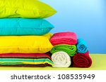 pillows and towels on blue... | Shutterstock . vector #108535949