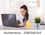 surprised woman with credit... | Shutterstock . vector #1085360165