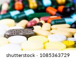 medicine pills or capsules on...   Shutterstock . vector #1085363729