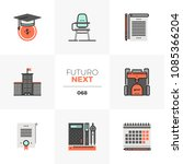 modern flat icons set of school ... | Shutterstock .eps vector #1085366204