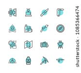 premium set of camping icons.... | Shutterstock .eps vector #1085366474