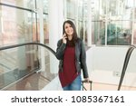 beautiful young woman talking... | Shutterstock . vector #1085367161