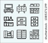 furniture related set of 9... | Shutterstock .eps vector #1085371199