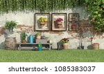 sunny garden with flowers and... | Shutterstock . vector #1085383037