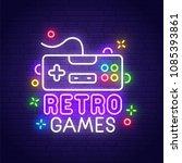retro games neon sign  bright... | Shutterstock .eps vector #1085393861