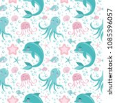 cute seamless pattern with sea... | Shutterstock .eps vector #1085396057