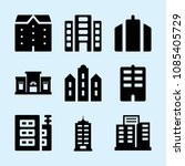 filled set of 9 apartment icons ... | Shutterstock .eps vector #1085405729