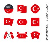 turkey flag vector icons and... | Shutterstock .eps vector #1085406224