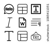 outline set of 9 word icons... | Shutterstock .eps vector #1085411051