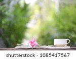 white cup with frangipani... | Shutterstock . vector #1085417567