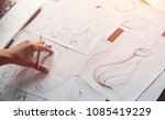 production designer sketching... | Shutterstock . vector #1085419229