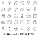 thin line icon set   cheese... | Shutterstock .eps vector #1085433971