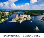 Aerial view of olavinlinna medieval castle in Savonlinna, Finland. Drone photography