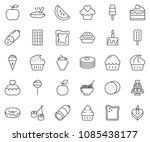 thin line icon set   sausage... | Shutterstock .eps vector #1085438177