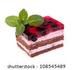 Delicious  cake piece isolated on white background - stock photo