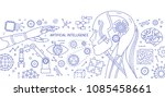 horizontal monochrome banner... | Shutterstock .eps vector #1085458661