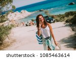 pretty young woman with a bag... | Shutterstock . vector #1085463614