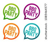 bbq party fun round buttons.... | Shutterstock .eps vector #1085464577
