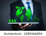 businessman with a green globe. ...   Shutterstock . vector #1085466854