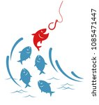 fishes jumping out of the water ...   Shutterstock .eps vector #1085471447
