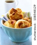 fresh buns muffins for breakfast - stock photo