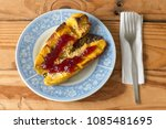 roasted bananas with butter and ... | Shutterstock . vector #1085481695