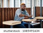 stylish african american boy on ... | Shutterstock . vector #1085491634
