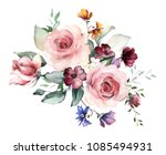 watercolor flowers. floral... | Shutterstock . vector #1085494931
